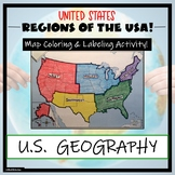 US Regions Map Activity- Label and Color the Five Regions!