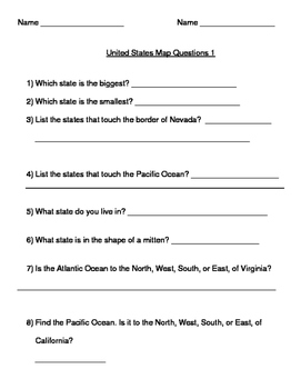 US Map Questions #1