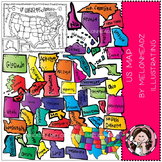 US Map clip art - COMBO PACK- by Melonheadz