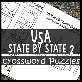 US Maps of Individual States & Capitals Crossword Puzzle Sheets 2