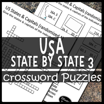 US Maps of Individual States & Capitals Crossword Puzzle Sheets 3
