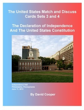 US Match And Discuss Cards Sets 3 and 4: The Declaration and Constitution