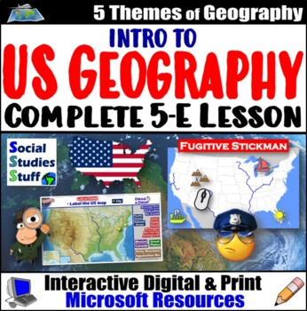 Find Fugitive Stickman: Mental Map Activity ~ Intro to USA Geography ...