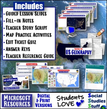 Find Fugitive Stickman Mental Map Activity & 5-E Lesson - Intro to USA  Geography