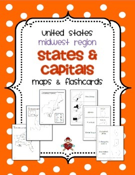 US Midwest Region States  Capitals Maps by MrsLeFave  TpT
