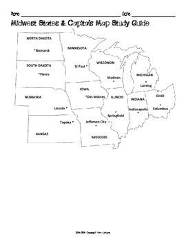 US Midwest Region States & Capitals Maps