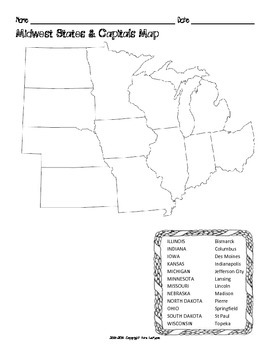 graphic relating to Printable States and Capitals Map known as US Midwest Location Suggests Capitals Maps