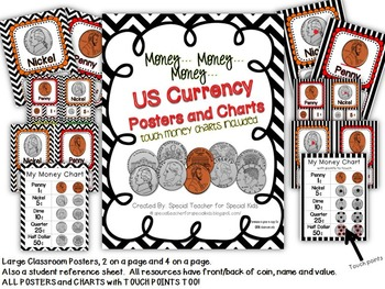 US Money Classroom Visuals with Points to Touch (Black & White Chevron)