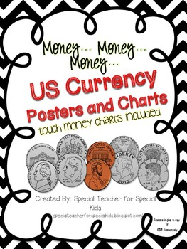 US Money Classroom Visuals with Points to Touch (Black & W