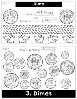 Identifying Coins of the US Flip Book Money Centers Worksheets Activities