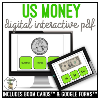 US Money Names & Values Digital Interactive Task Cards Activity BUNDLE