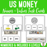 US Money Names & Values Task Cards - Life Skills Math