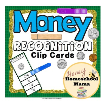 U.S. Money Recognition Clip Cards with Coins and Bills