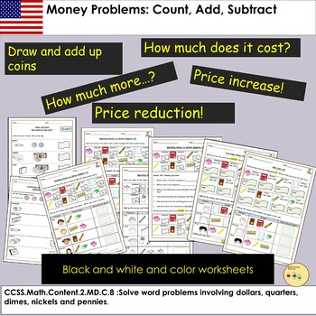 US - Money Worksheets - Count, Add, Subtract Tasks  and Word Problem Questions