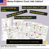 US Money Worksheets Count Add Subtract Tasks and Word Problem Activities