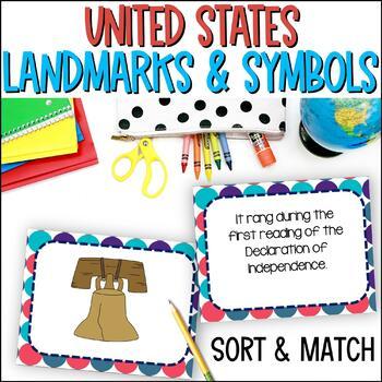 Us National Symbols And Landmarks Task Cards Tpt