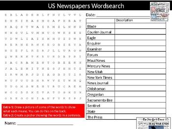 US Newspapers Wordsearch Sheet Cartoon Starter Activity Keywords English Media