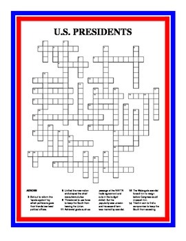 U.S. PRESIDENTS CROSSWORD PUZZLE by The Lit Guy | TpT