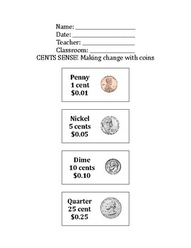 US Penny, Nickel, Dime, and Quarter Coin Values FREEBIE