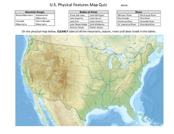U.S. Physical Features Map Quiz by Kurt Johnson | TpT