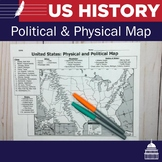 US Physical and Political Map to Label