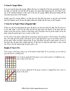 U.S. Presidents Bingo and Quiz Game, Volume 1