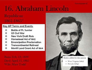 US President Posters (for APUSH)