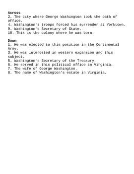 U.S. President Quick Puzzle- George Washington  Internet Assignment