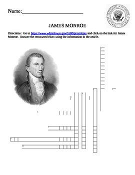 U.S. President Quick Puzzle- James Monroe Internet Assignment