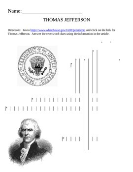 U.S. President Quick Puzzle- Thomas Jefferson Internet Assignment