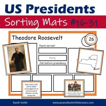 US President Sorting Mats: Presidents 16-30