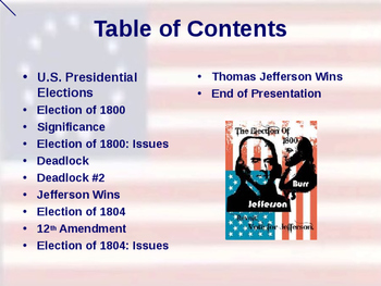 US Presidential Elections - Election of 1800 & 1804 - Jefferson