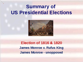 US Presidential Elections - Election of 1816 & 1820 - Monroe