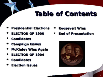 US Presidential Elections - Election of 1900 & 1904 - McKinley-Roosevelt