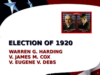 US Presidential Elections - Election of 1920, 24 & 28 - Harding-Coolidge-Hoover