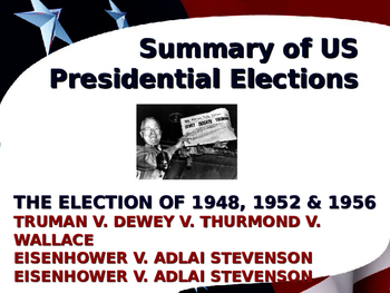 US Presidential Elections - Election of 1948, 1952 & 1956