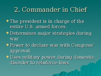 US Presidential Responsibilities Power point