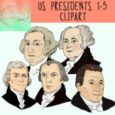 US Presidents 1-5 Clipart - Color and Black and White- 10