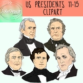 US Presidents 11-15 Clipart - Color and Black and White- 1