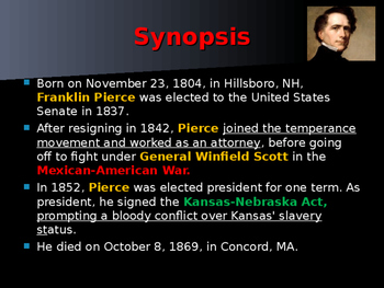 US Presidents - #14 - Franklin Pierce - Summary