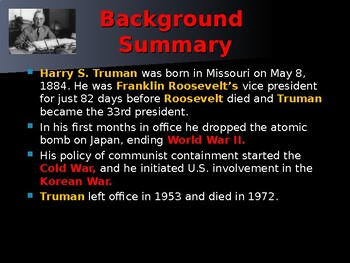 US Presidents - #33 - Harry S Truman - Summary