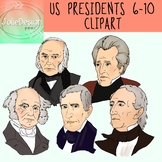 US Presidents 6-10 Clipart - Color and Black and White- 10
