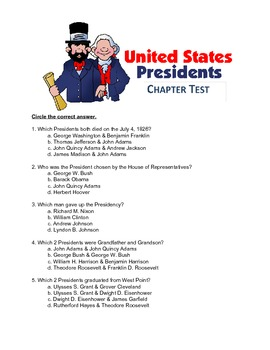 U.S. Presidents Chapter Test and Answer Key