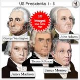 US Presidents Clip Art Set 1 Washington Adams Jefferson Madison Monroe