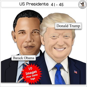 US Presidents Clip Art Set 9 Presidents Bush H Clinton Bush W Obama Trump