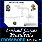 US Presidents Crossword Puzzle Activity Worksheet