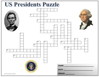 US Presidents Crossword Puzzle Activity Worksheet