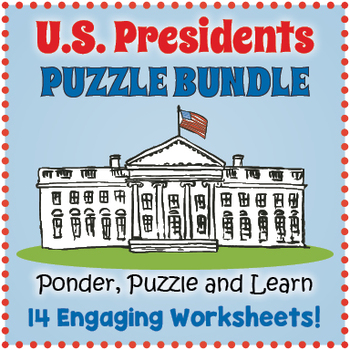 US Presidents Day Bundle - Six Puzzle Worksheets by Puzzles to Print