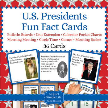 U.S. Presidents Unit Activity - Fun Fact Cards for Games, Bulletin Board