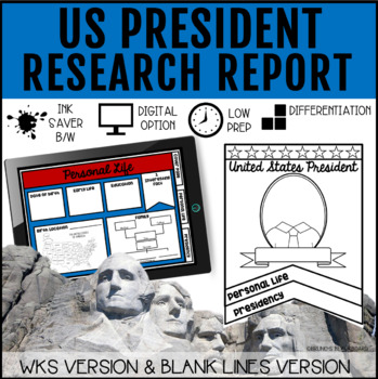 Presidents Day Research Actvitiy (in print and digital)